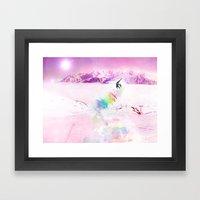 Snowboard & Mountain Framed Art Print
