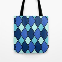 Big Harlequin Diamonds: Blue Multi Tote Bag