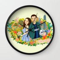 Custom illustration for a couple Wall Clock