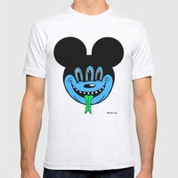 REPTILIAN MICKEYES. (Blue Face). Mens Fitted Tee Ash Grey SMALL