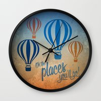 Oh, the Places You'll Go - Blue & Gold Wall Clock