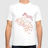 Geometric Zebra Mens Fitted Tee White SMALL