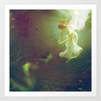 The angel and the mermaid Art Print