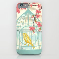 Sketchy Illustration - Canaries, Cherry Blossoms & Bird Cages Slim Case iPhone 6s