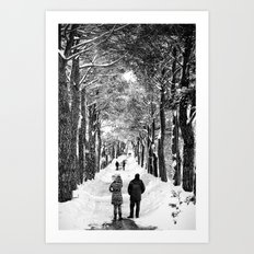 Couple on snowy street Art Print