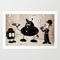 Art Print featuring Smoke Break at the Clink Clang Detective Agency by David Finley