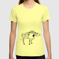 Cowface Womens Fitted Tee Lemon SMALL