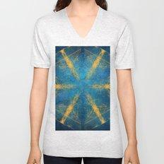 Tribal gold on blue kaleidoscope Unisex V-Neck