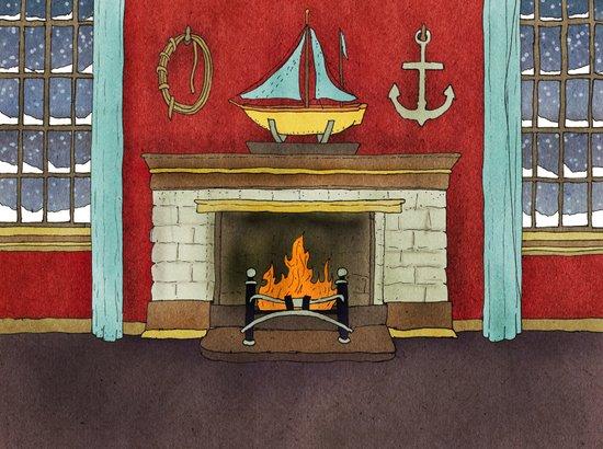Happy Holidays - Fireplace Art Print