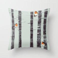 Robin Trees Throw Pillow
