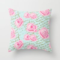 Pink  Roes and French Script Throw Pillow