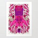 pink worm neck Art Print