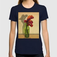 Calla Lilies In Bloom Womens Fitted Tee Navy SMALL