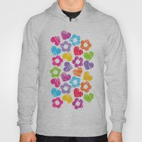 Sketchy rainbow hearts nd flowers. Hoody