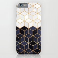 White & Navy Cubes iPhone 6 Slim Case