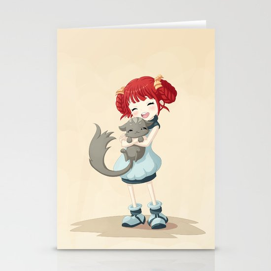 Girl and a Cat Stationery Card