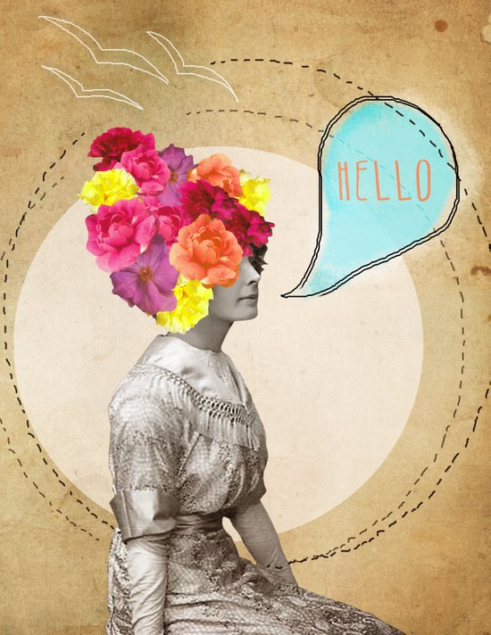 Collage Love - Miss Lady Bird Art Print