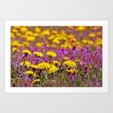 Alice In Wonderland Flower Field Art Print