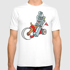 Hot Wheeling Robot Love White Mens Fitted Tee SMALL
