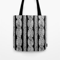 Cable Row Black Tote Bag