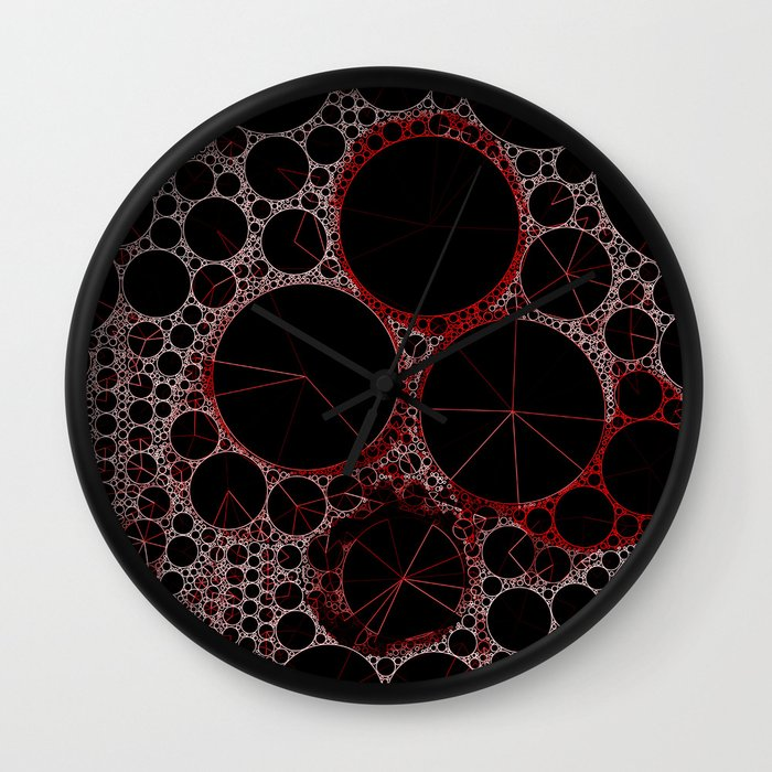 Black and red abstract 2 wall clock by v sanderson for Red and black wall clock