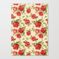 Rose Pattern- Cream Canvas Print