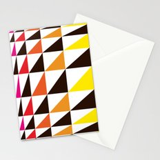 Red Yellow Triangle Pattern Stationery Cards