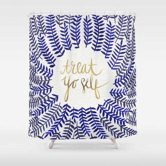 Treat Yo Self Gold Amp Navy Shower Curtain By Cat