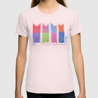 RAINBOW CATS Womens Fitted Tee Light Pink SMALL