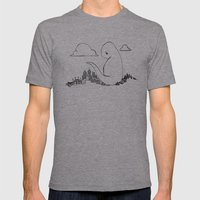 Angry Dino Mens Fitted Tee Athletic Grey SMALL