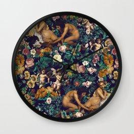 Wall Clock - Young Greeks and Floral Pattern - Burcu Korkmazyurek