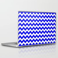 chevron Laptop & iPad Skins featuring Chevron (Blue/White) by 10813 Apparel