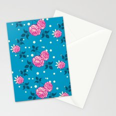 Roses on blue Stationery Cards