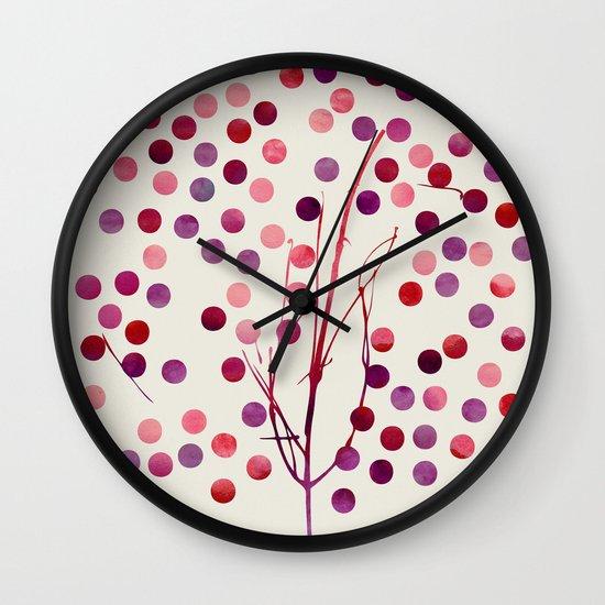 Tree of Life_Berry by Jacqueline Maldonado & Garima Dhawan Wall Clock