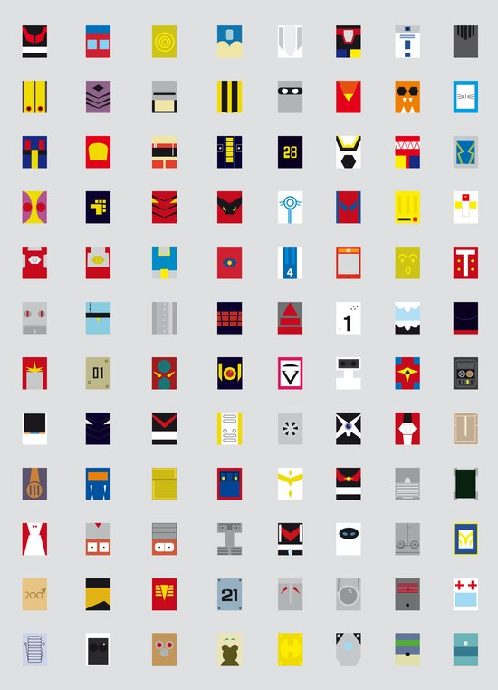 Minimalism robots (Good natured / Defenders) Art Print