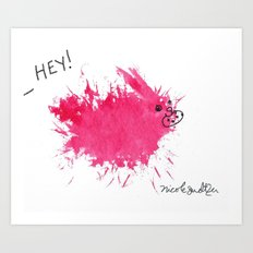 Pink Bunny, Cookie Thief Art Print