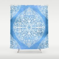 Shower Curtain featuring White Gouache Doodle On … by Micklyn