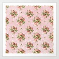 Pink Vintage Roses Art Print