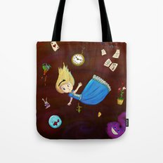 Alice in Wonderland falling through rabbit hole Tote Bag