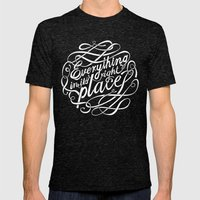 Everything in it's right place Mens Fitted Tee Tri-Black SMALL