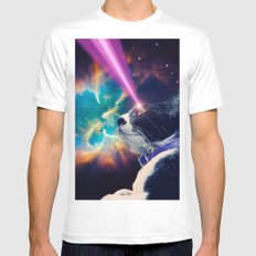 Neko San in Space White Mens Fitted Tee SMALL