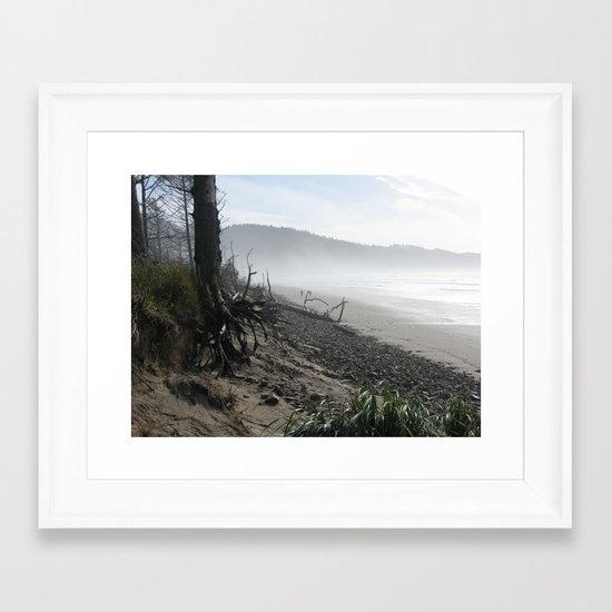 Misty Morning Walk Framed Art Print