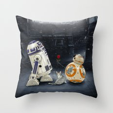 LOVE DROID & THE CAT Throw Pillow