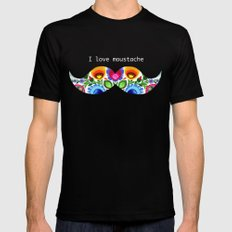 I love moustache - folk Black SMALL Mens Fitted Tee