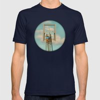 Window cleaner in the sky 02 Mens Fitted Tee Navy SMALL