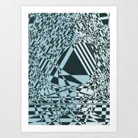 Blue & Black Abstract Art Print