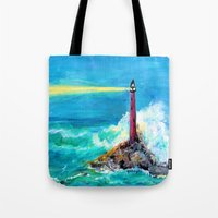 Lighthouse Abstract Painting Tote Bag