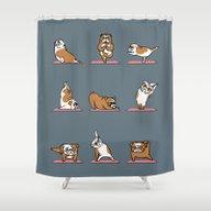 English Bulldog Yoga Shower Curtain