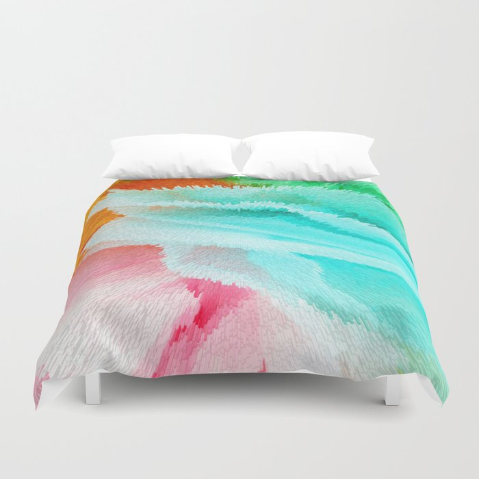 Pink Orange Green And Blue Duvet Cover By Lara Gurney