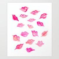 Lips Watercolor Pattern Art Print